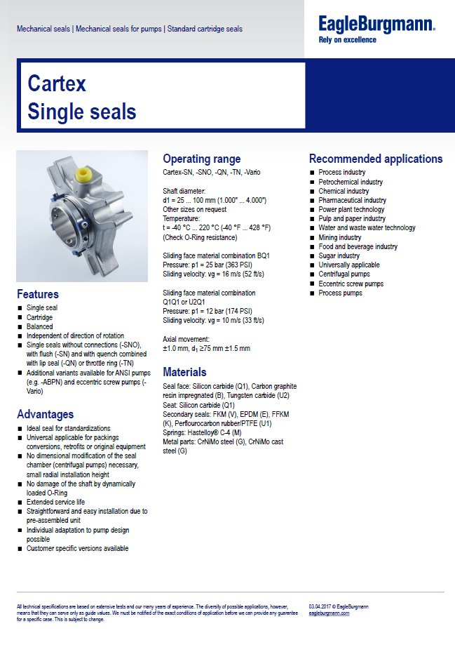 EagleBurgmann Cartex Single seals
